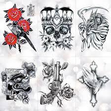 Crown Skull Scythe Death Waterproof Temporary Tattoo Sticker Sketch Praying Cross Flash Tattoos Body Art Arm Fake Tatoo