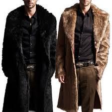 fashion men warm faux fur coat parka outerwear