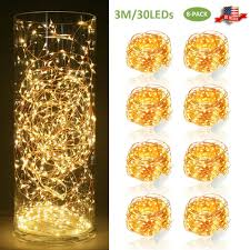 Paper Mache String Lights 8x 30 Led Copper Wire String Fairy Lights 3m Xmas Decoration Battery Operated