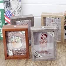 natural wood diy family picture frames sided pictures display kids baby lover picture photo frame
