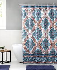 bright boho aqua blue orange fabric shower curtain colorful fl mandala design on distressed style background 72 x 72 inch
