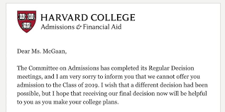 Rejection Letter Sample Magnificent Student Behind Faux Harvard Rejection Letter Gets Real One The