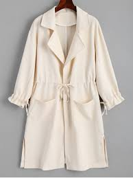 las side belted skirted trench coat light apricot s