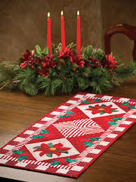 Christmas Table Runner Patterns Delectable Christmas Winter Quilt Patterns Poinsettia Holly Table Runner