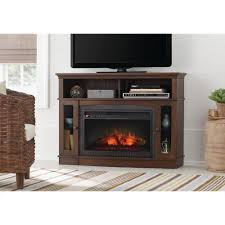 home decorators collection grafton 46 in tv stand infrared electric fireplace in medium brown walnut