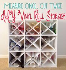 measure once cut twice diy vinyl roll storage using a marthastewart bookshelf