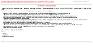 Visit Work Experience Certificates Experience Letters Templates