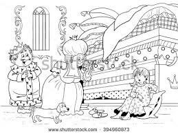 princess and the pea coloring page. princess on the pea. fairy tale. illustration for children. a cute princess, and pea coloring page w