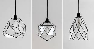 these modern black geometric glass pendant lights are unique and handmade