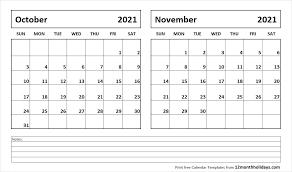 October And November 2020 Calendar 2018 Calendar