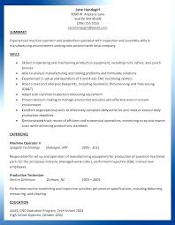 Cover Letter For Cnc Operator Resume For Machinist Resume Machinist