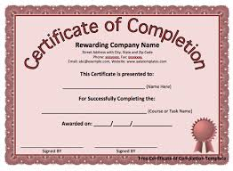 Certificate Of Completion Award And Form Template With Red Design