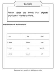 Verb Action Action Verbs Worksheets Examples Sentences Definition