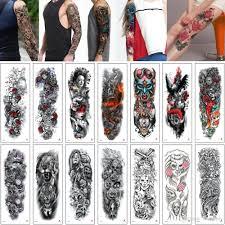 48x17см Tqb большой большой татуировки наклейка рыба череп тигр сказка женщина