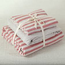 100 cotton jersey knitted fabric 4pcs red stripe duvet cover with solid color bedsheet double