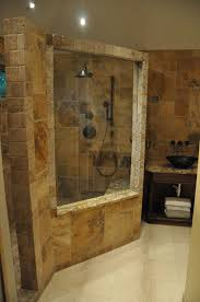 walk in shower lighting. Natural Bathroom Design With Stone Walk In Shower And Vanity Plus Recessed Lighting S