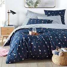 blue duvet cover geometric cotton print la