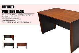 office writing table. Infinite Office Table (SPII 1470) The Size Of Is W1400*D700*H750. It Made By MDF Board And Laminated With Rose Wood Colour PVC. Writing