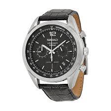 seiko chronograph black dial men s watch ssb097