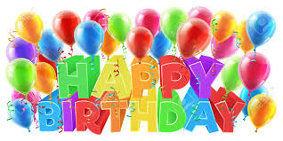 Balloons And Happy Birthday Bright Color Word Text Sign With