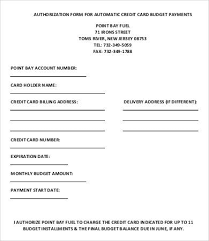 Automatic Withdrawal Form Template Credit Card Form Template 9 Free Sample Example Format