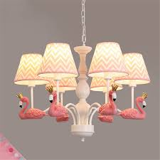 Flamingo Light Fixture Baby Pink Home Deco Flamingo Large Chandelier Lighting For Living Room Nursery Kids Hanging Light Fixtures Children Bedroom Lamp