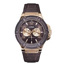 men s crystal watches h samuel guess gents brown leather strap watch product number 9827862