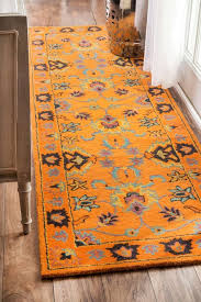 feizy rugs eye catching orange rug with beautiful flower and leaves motive