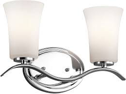 kichler 45375chl16 armida modern chrome led 2 light bathroom lighting fixture loading zoom