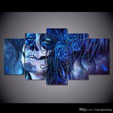 framed hd printed blue day of the dead face picture wall art  2018 framed hd printed blue day of the dead face picture wall art canvas print decor poster abstract canvas oil painting from framedpainting
