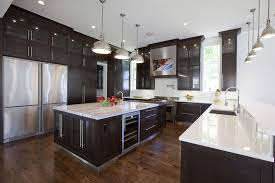 Contemporary kitchen with chrome lights