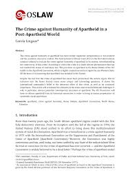 Pdf The Crime Against Humanity Of Apartheid In A Post Apartheid World