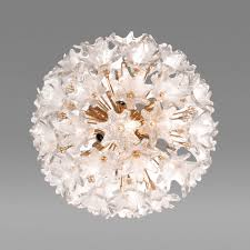 a murano brass and glass flower ball chandelier offered by craig van den brulle