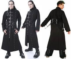 men s long black buckle trench coat by dead threads