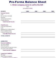 Pro Forma Balance Sheet Template Balance Sheet Template