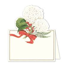 Holiday Placecards Caspari Snowball Hydrangeas Diecut Holiday Place Cards Paperstyle