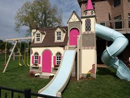outdoor castle playhouse with slide for princess little girl also outdoor backyard decoration