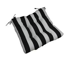 com indoor outdoor black and white stripe universal tufted seat cushion with ties for dining patio chair choose size 17 1 2 x 17 1 2 home