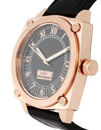moschino moschino mens black leather strap watch in black for men gallery