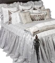 silver and white blingged bedding