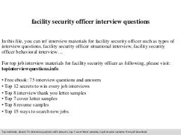 facility security officer interview questions network security officer