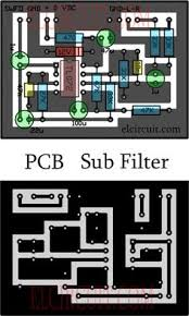 subwoofer controller uses a single ic tl072 circuit diagram pcb design and its layout