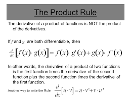 The Product Rule The Derivative Of A Product Of Functions Is Not The
