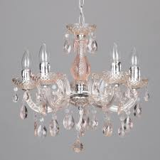 chandelier ceiling 5 way marie therese pink crystal effect pendant litecraft