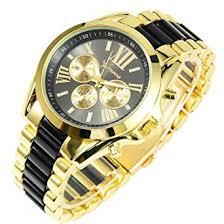amazon com new mens gold black luxury men classic stainless steel new mens gold black luxury men classic stainless steel gold dial quartz analog bangle wrist watch