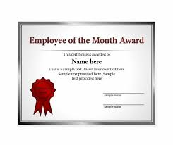 Printable Employee Of The Month Certificates Certificates Amusing Employee Of The Month Certificate