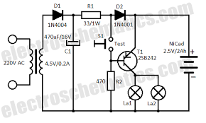 automatic emergency light circuit automatic emergency light circuit schematic