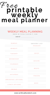 Planned Meals For A Week Free Printable Weekly Meal Planner With Grocery List