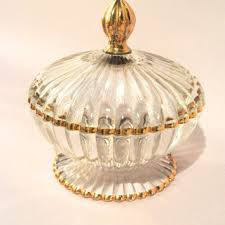 vintage candy dish glass gold trimmed trim with lid