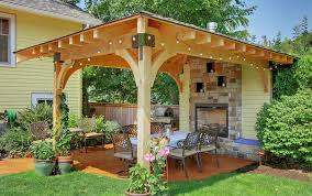 Pergola with stone fireplace